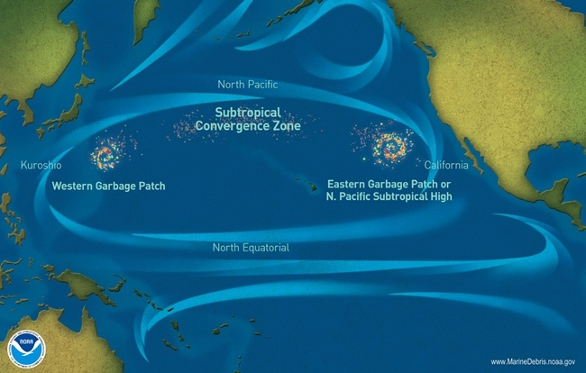pacific ocean garbage patch satellite image