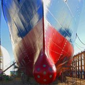 ships hull with anti fouling system