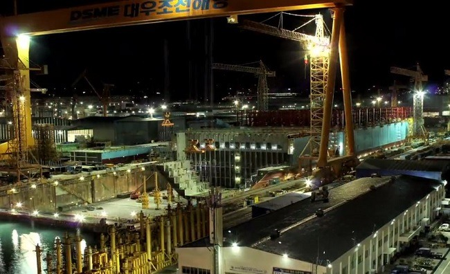 assembling maersk at DSME shipyard