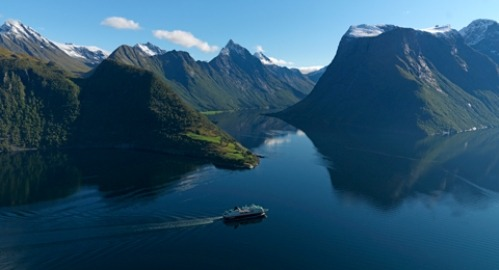 Cruise ship in fjord