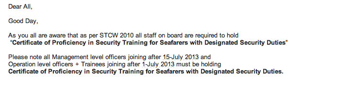Certificate of Proficiency in Security Training for Seafarers with Designated Security Duties