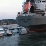 Raw Video : Cement Carrier Ship Crushing Boats in Marina