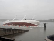 Raw Video: Ship Almost Tips Over During Launch