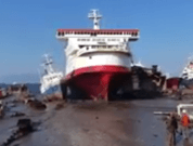 Watch: Big Ship Crashes Into Beach for Scrapping and Recycling