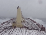 Watch: Cargo Ship Carrying Logs In Dangerous Storm