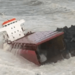 Shocking Video: Ship Breaks Into Half After Hitting Sea Wall