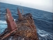 Raw Video: Ship In Storm Listing 45 Degrees, Cargo Released in Sea To Save Ship