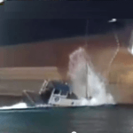 Raw Video: Ship Drops Anchor On Tug Boat, Man Overboard