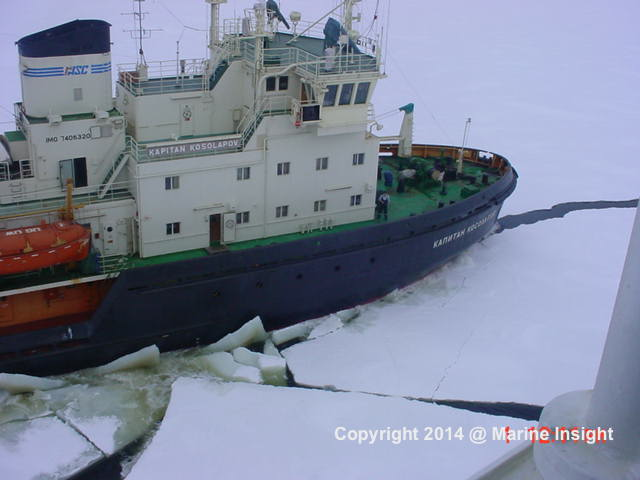 Ship in cold weather
