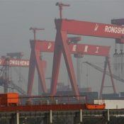 A view of Rongsheng Heavy Industries shipyard is seen in Nantong
