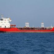 Red oil tanker