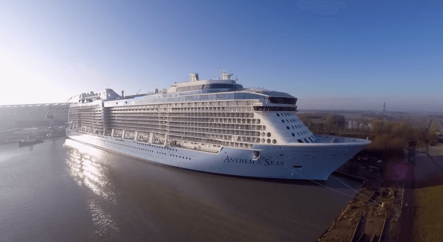 Watch drone view of royal caribbean s newest cruise ship anthem of