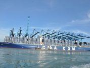 12 Cranes Used Simultaneously to Unload 398 Meter Long Containership CMA CGM Kerguelen