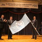 The World Maritime Day Parallel Event flag was handed over by Mr. Akihiro Nishimura, State Minister of Land, Infrastructure, Transport and Tourism, Japan, to Mr. Özkan Poyraz, Undersecretary, Republic of Turkey Ministry of Transport, Maritime Affairs and Communications.