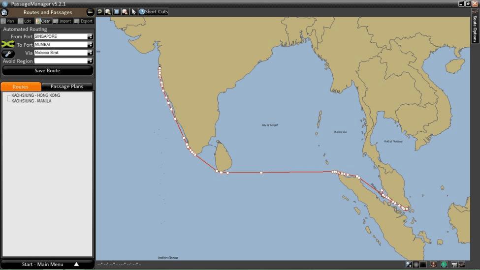 ROUTE SHOWING SINGAPORE TO MUMBAI