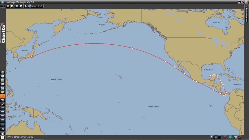 ROUTE SHOWING YOKOHAMA TO MEXICO