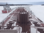Time-Lapse Videos Show Coast Guard Making Track For Freighter Stuck In Ice