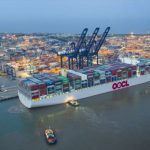 World's Largest Container Ship Makes Maiden Call At Port Of Felixstowe