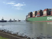 Watch: Ultra Large CSCL Jupiter Boxship Stuck off Antwerp