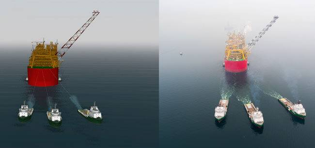 HR-Wallingford-simulation-(left)-and-photograph-by-Shell-(right)-of-the-Prelude-tow-with-POSH-tugs-