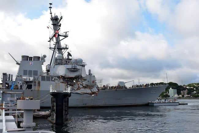 USS Fitzgerald damaged