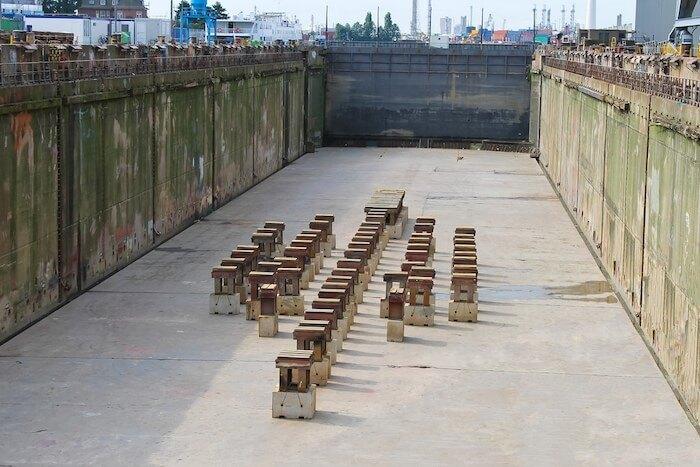 keel blocks arrangement