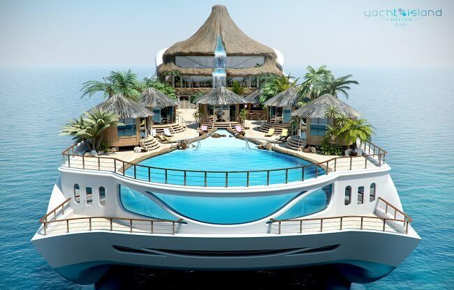 A Floating Tropical Island Mega Yacht Concept