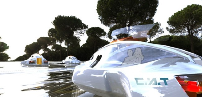 Futuristic City Aquatic Transport Concept