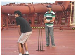 playing cricket on VLCC