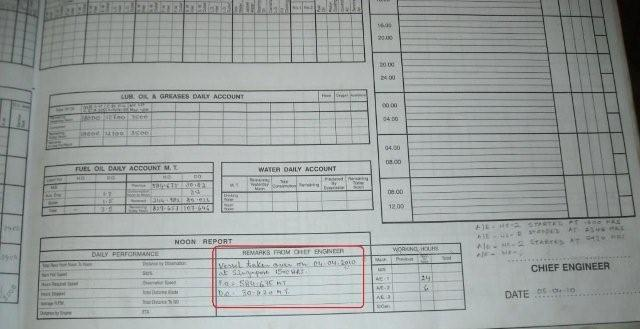 Engine room log book