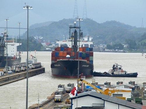 Miraflores locks of Panama canal