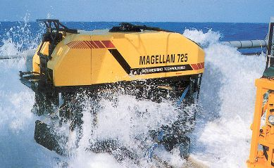 ROV being launched into the Ocean