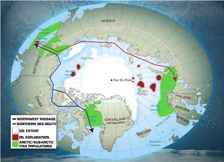 Arctic region at minimum sea ice extent
