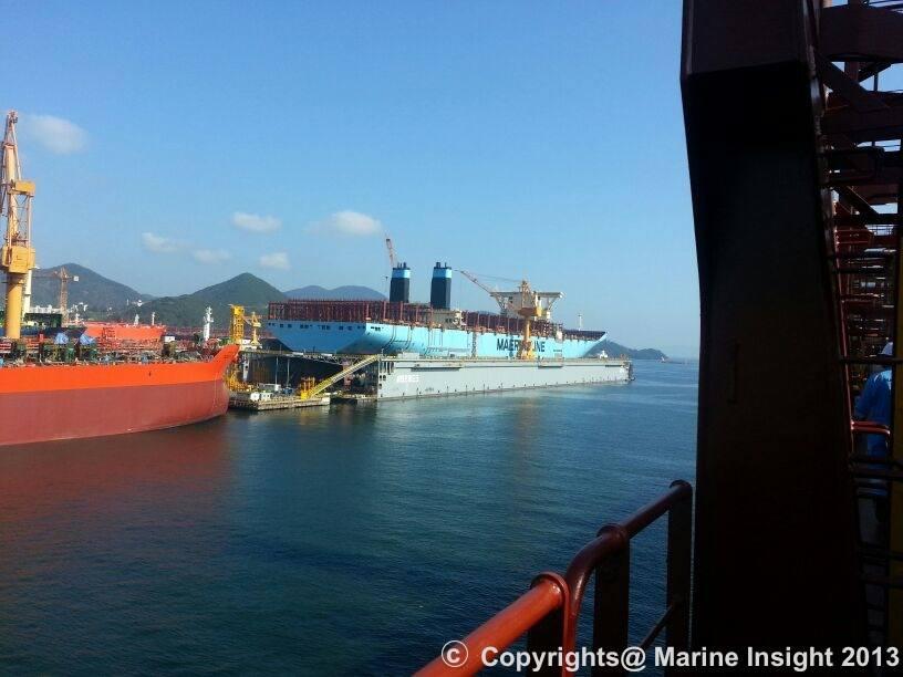 Maersk Triple E Vessel in Floating Dock