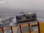 Raw Video: Container Ship in Storm, Bridge is a Mess