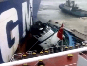 Raw Video: Two Ships Collide in Port, Almost Crushes Tugboat