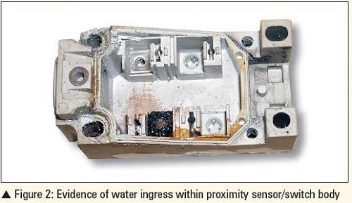 water ingress within proximity sensor