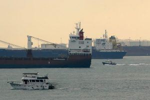 Cargo vessels pass the waters outside Sentosa island in Singapore