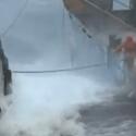 men work in overhauling storm