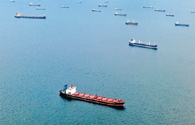 Ships in Strait of Malacca