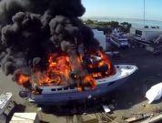 yacht ablaze