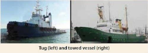 tug and vessel