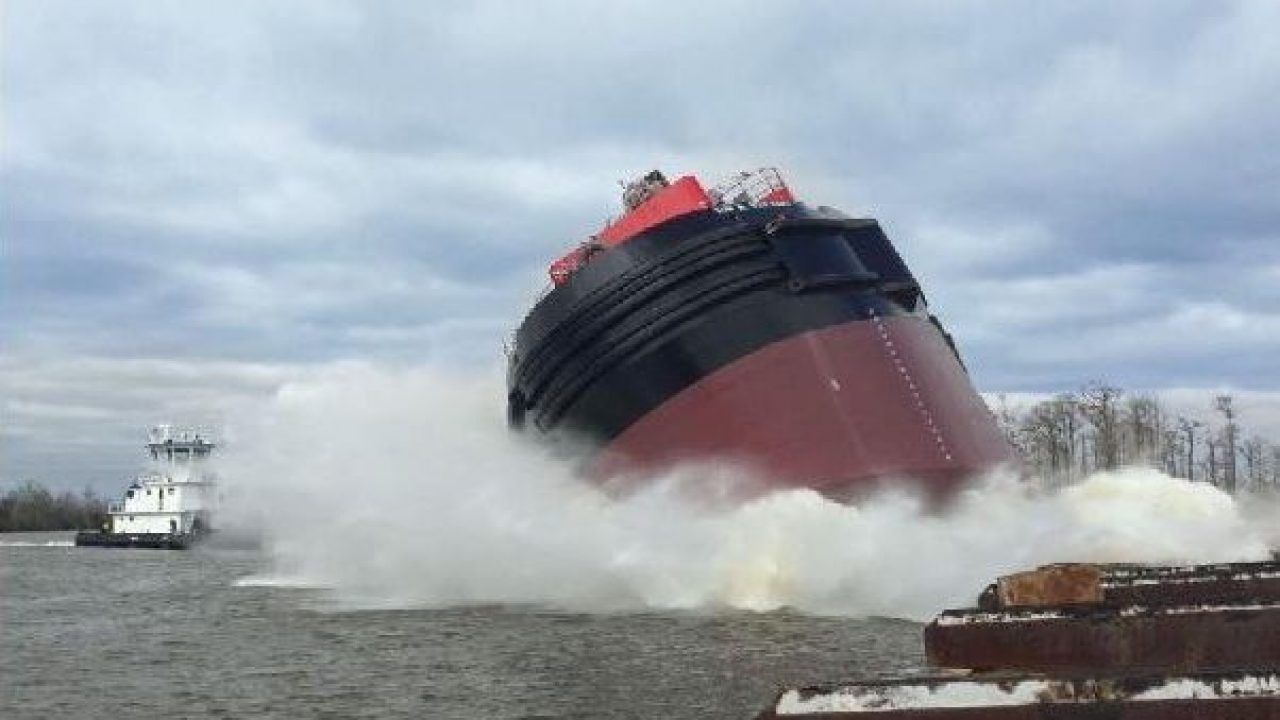 Watch: Launching of Articulated Tug Barge (ATB)