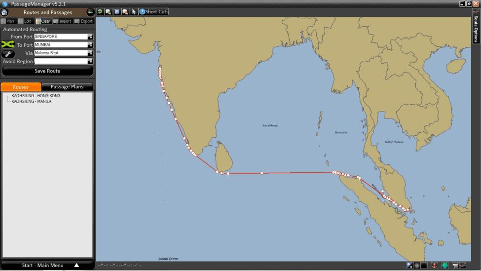 ROUTE SHOWING SINGAPORE TO MUMBAI
