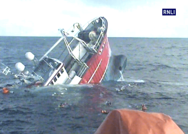 Trawler Sink Lifeboat Rescue