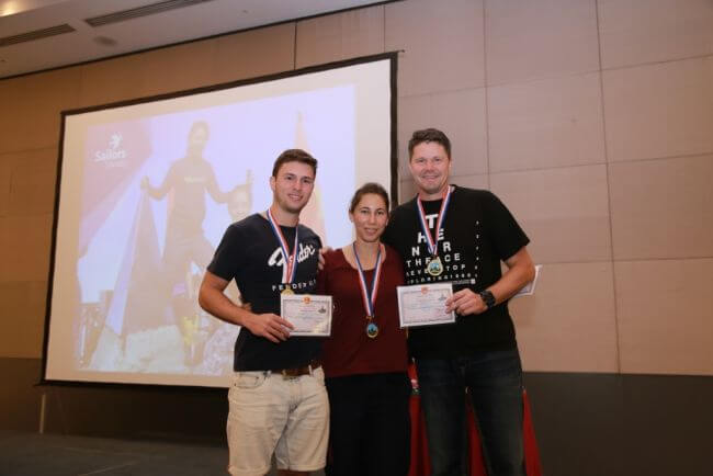 Image 2 Sailors' Society's Asian Challenge winning team Noble Freight Jonathan Patterson, Joanna Buick, Andrew Benjamin lr
