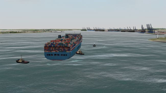 HR Wallingford's Navigation Simulation of Madrid Maersk Container Ship (1)