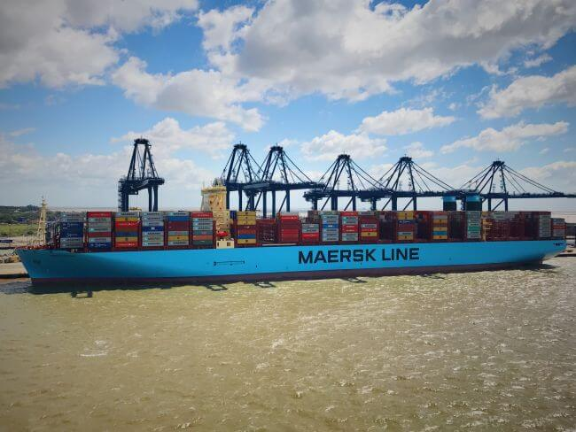 Madrid Maersk at Felixstowe's Berth 8 photographed by Captain Prithvi Singh, SCS pilot at HHA