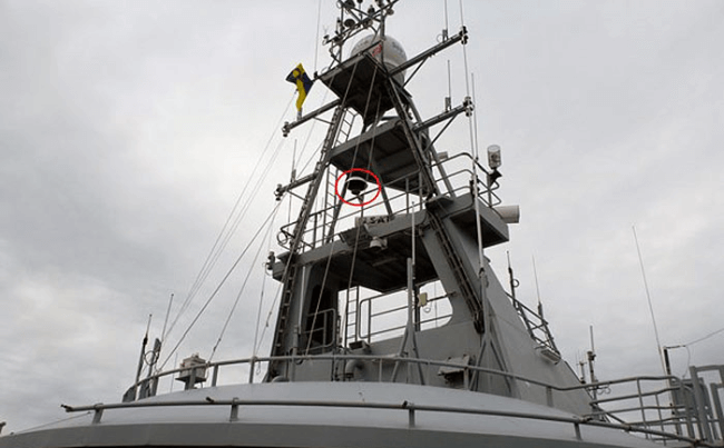 The MBR antennae (in the red circle) is shown here on board the KV Bergen. (Photo- Norwegian Coastal Administration)