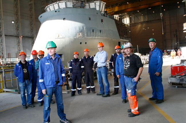 An-X-BOW-vessel-surrounded-by-Ulstein-workers
